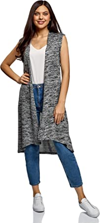 oodji Collection Mujer Chaleco Largo sin Cierre
