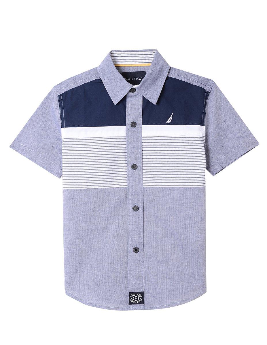 Nautica Boys' Short Sleeve Printed Woven Shirt, Amest Navy, 3T