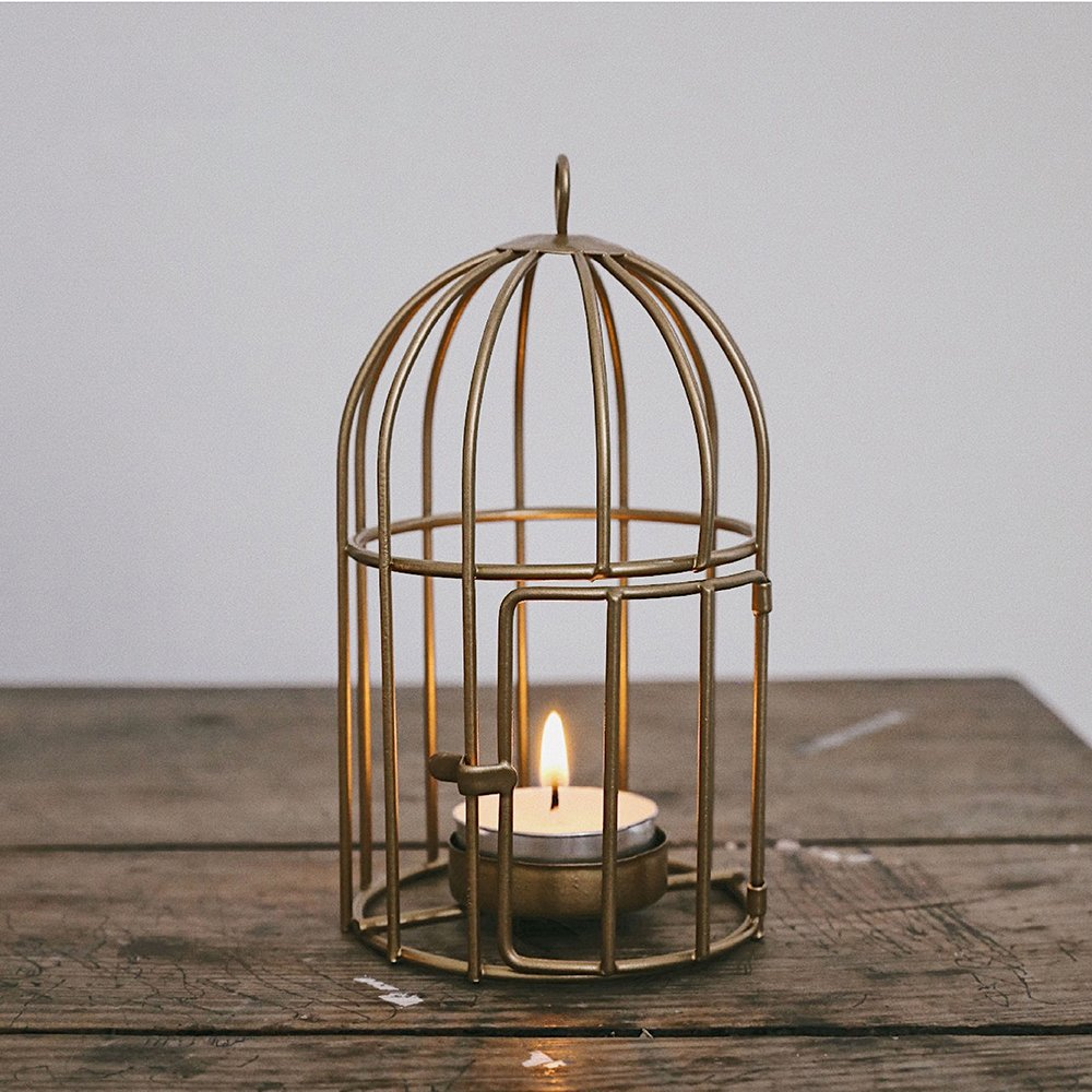 Hand Crafted Fashion Geometric Design Metal Candle Holder Six corners of simple lines Candlestick Holders or Candelabras (Birdcage) zd005