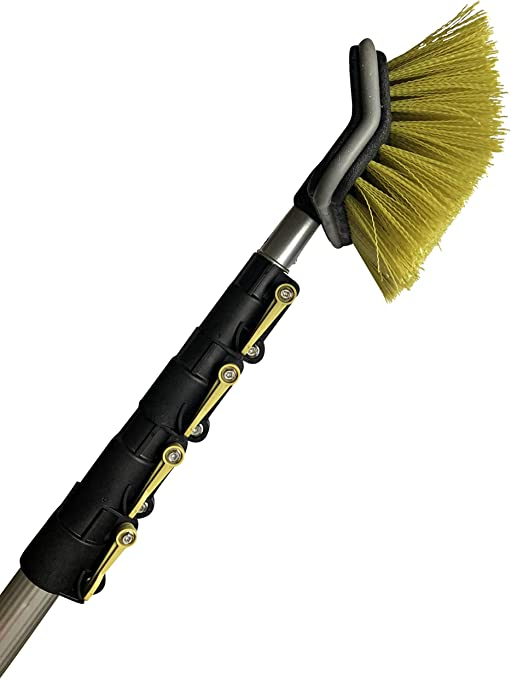 Docapole 6 24 Foot Hard Bristle Brush Extension Pole 11 Scrub Brush With Telescopic Pole Long Handle Cleaning Brush And Deck Brush For House