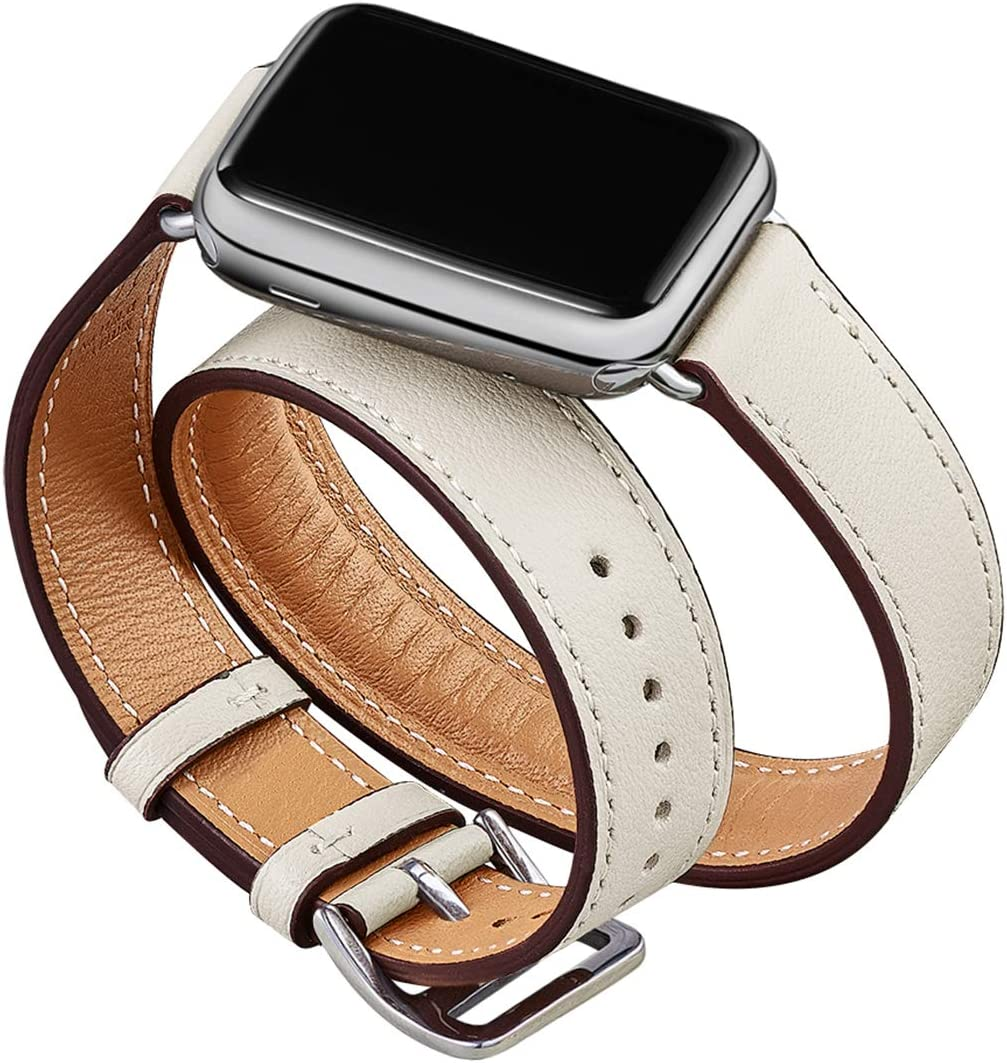 OMIU Band Compatible for Apple Watch 38mm 40mm 42mm 44mm, Leather Double Tour Smart Watch Wristband Compatible for Women Men IWatch Series 5/4/3/2/1 (Ivory White/Silver Connector, 42mm 44mm)