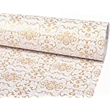 SimpleLife4U Luxury Gold Paisley Wallpaper Peel and Stick Contact Paper Decorative Shelf Liner 17.7 Inch by 9.8 Feet
