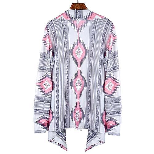 FEITONG Las mujeres geométrica Impreso Algodón de manga larga Escudo kimono Cardigan Cubrir Tops