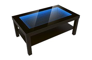 Modern Couchtisch Glastisch Beistelltisch Tiefeneffekt Tisch LED 3D 90x55 Wenge