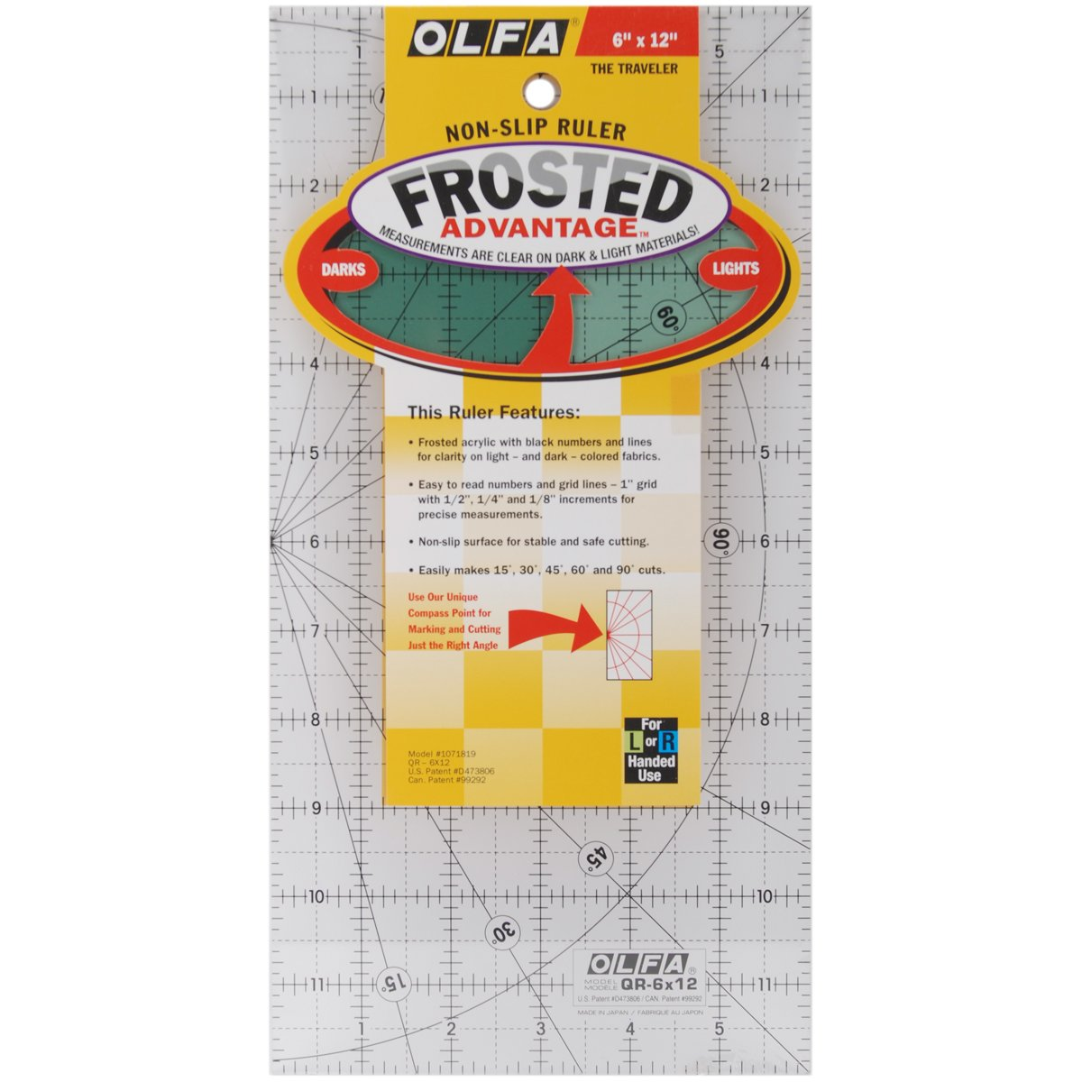 OLFA 1071798 QR-6S 6-1//2-Inch Square Frosted Advantage Acrylic Ruler
