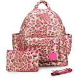 CiPU Baby Diaper Bag with 14 Compartments & 3 Bag Accessories including Pouch - Weightless on Your Shoulder & Waterproof - M Mini Caramel Pink Leopard