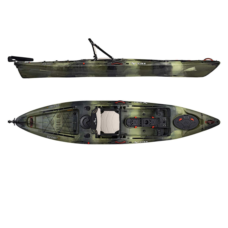 Vibe Kayaks Sea Ghost 130 | 13 Foot | Angler Sit On Top Fishing Kayak with Paddle and Adjustable Hero Comfort Seat (Hunter Camo)