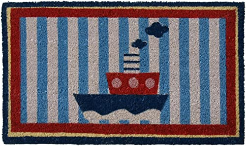 Rubber-Cal Welcome Aboard Mat Nautical Doormat, 18 by 30-Inch