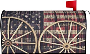 AuHomea Two Antique Wagon Wheels USA Flag Magnetic Mailbox Cover MailWrap Standard Size for Garden Yard Outdoor Home Decor 21