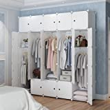 MAGINELS Magicial Panels Wardrobe Portable Closet Organizer Clothes Armoire Cube Storage Dresser for Bedroom, Large & Study, White, 10 Cubes & 5 Hanging Sections