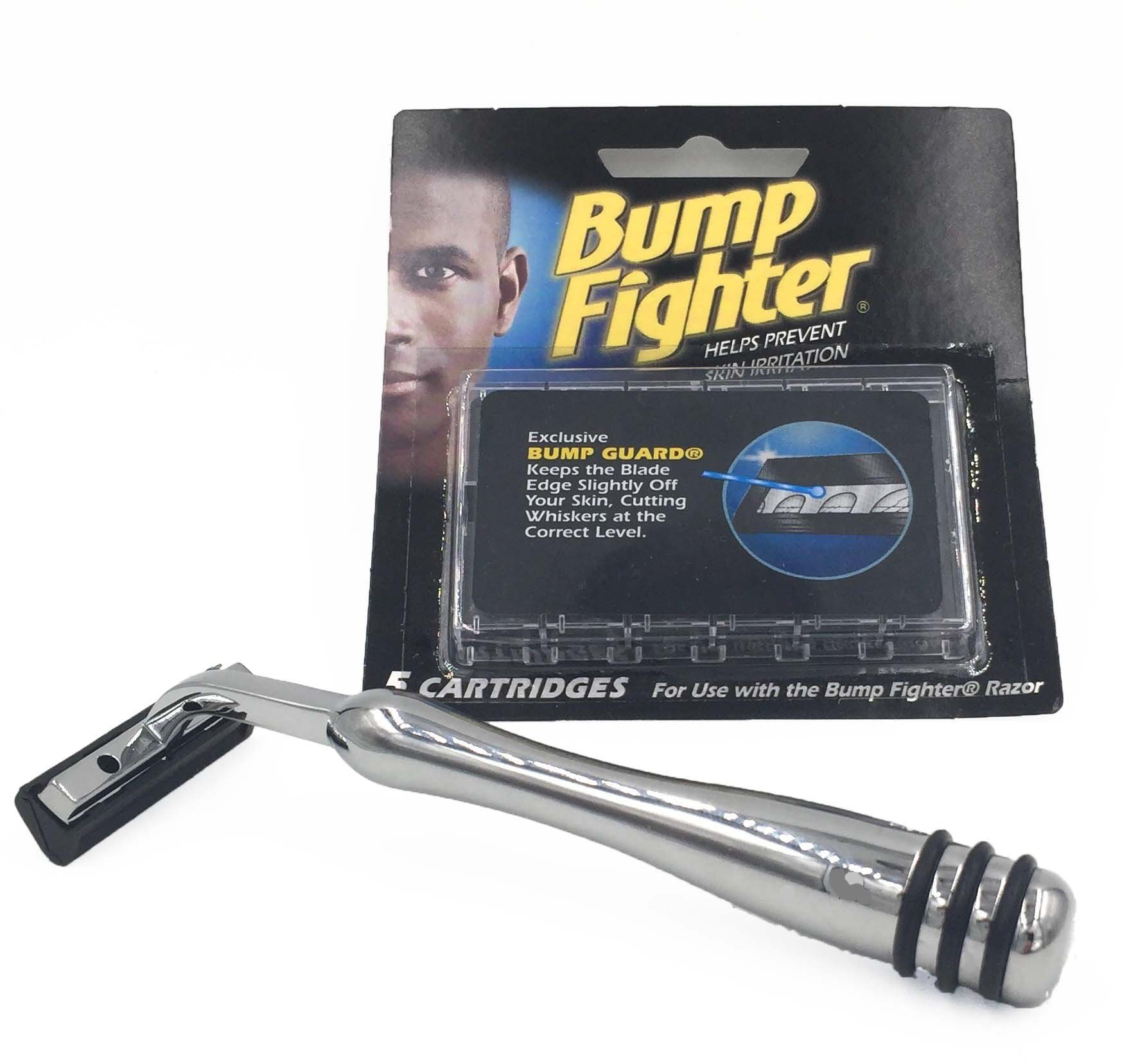 Heavyweight All-metal Bump Fighter Compatible Razor with Rubber Grips and 5 Bump Fighter Blades - A Great Shave System for Men with Sensitive Skin