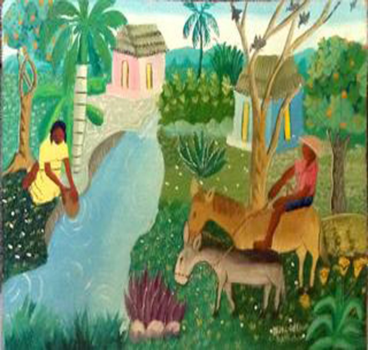 Original Vintage Haitian Painting Rural Scene by the River 12''x16'' Oil on Board by