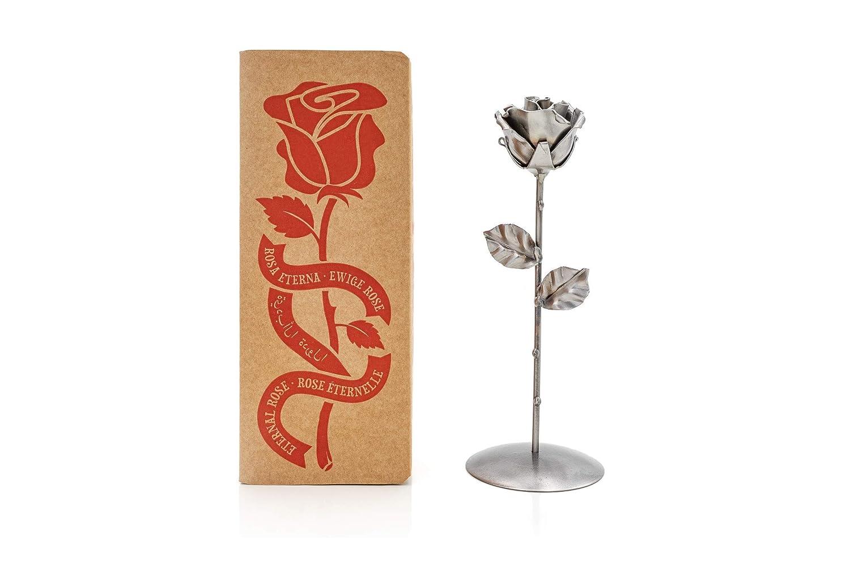Rosa Eterna de Hierro Forjado con peana - Forjada a mano - Personalizada Varios Colores - Grabado Opcional