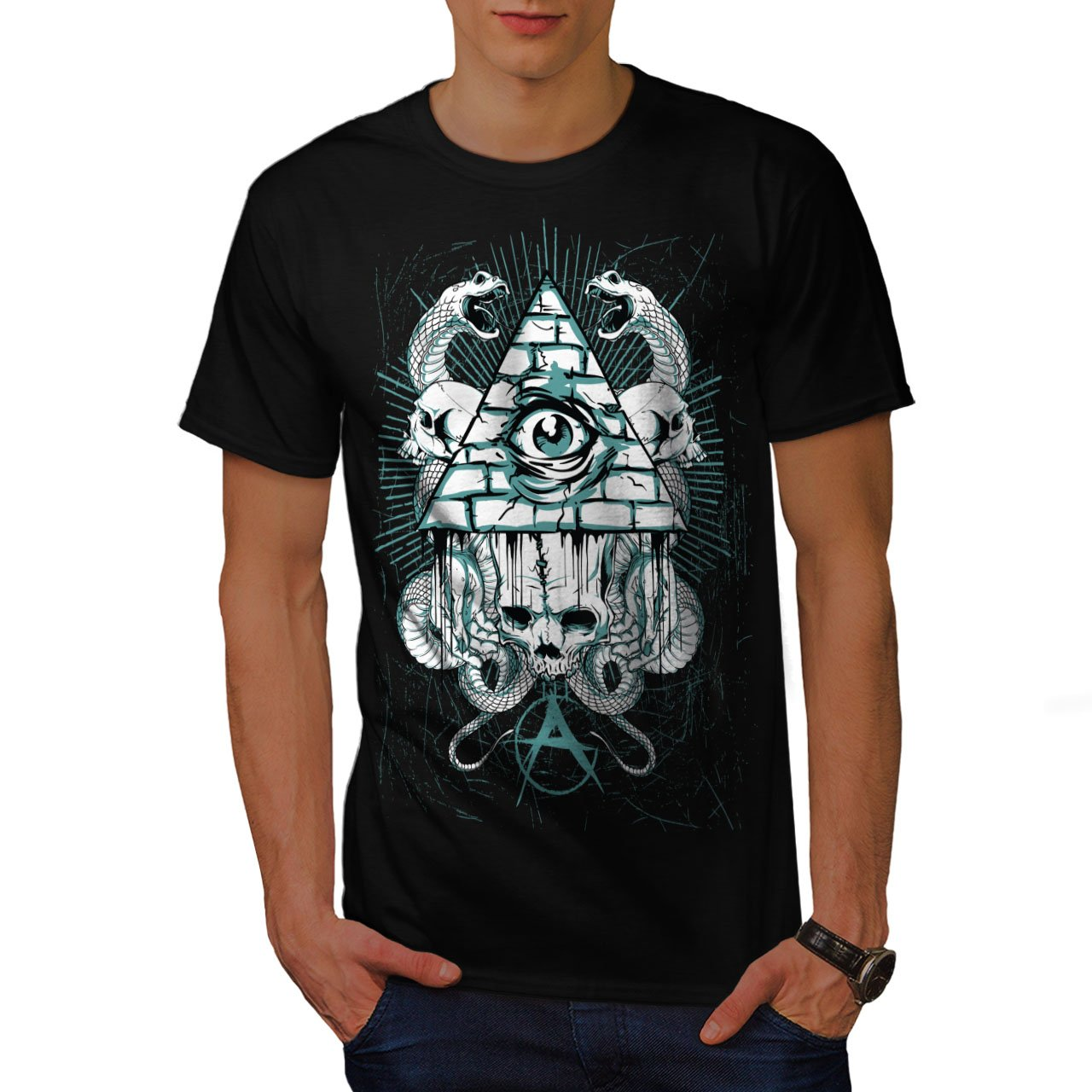 Amazon Wellcoda Triangle Snake Fashion Mens T Shirt Uk Graphic
