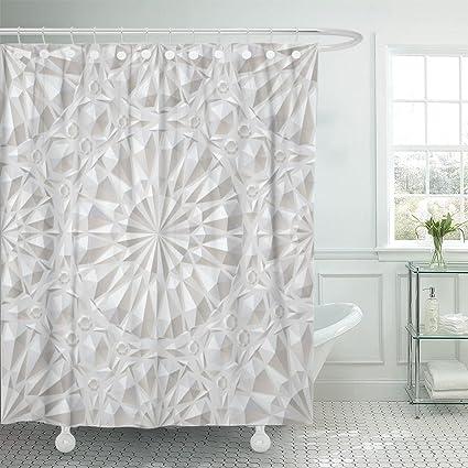 Amazon Emvency Shower Curtain Gray Emboss White Surround