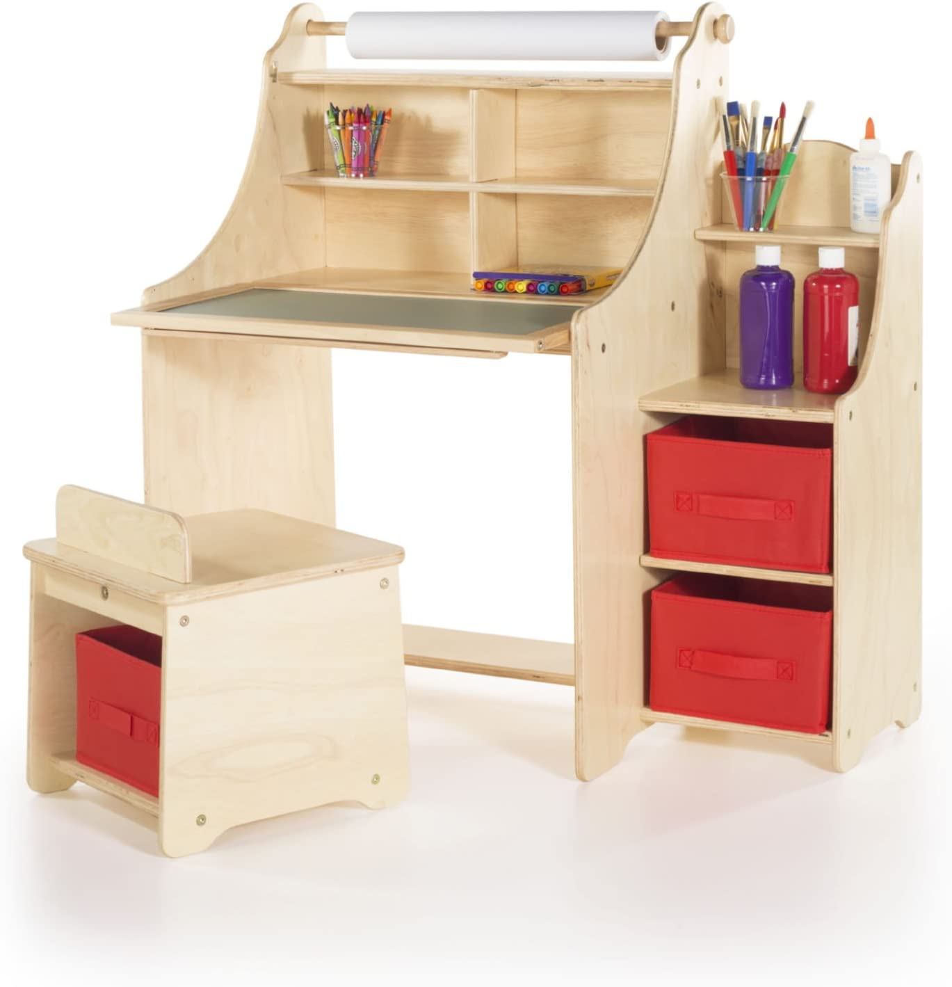 Amazon Com Guidecraft Artist Activity Desk With Storage Stool