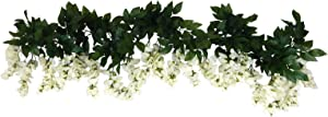 Ella and Lulu Dessign 2 6-ft Long Wisteria Blossom Garland for Home Interior Outdoor Indoor Window Centerpiece Welcome Wedding Party Special Event Decoration Wall Décor, One Size, Cream