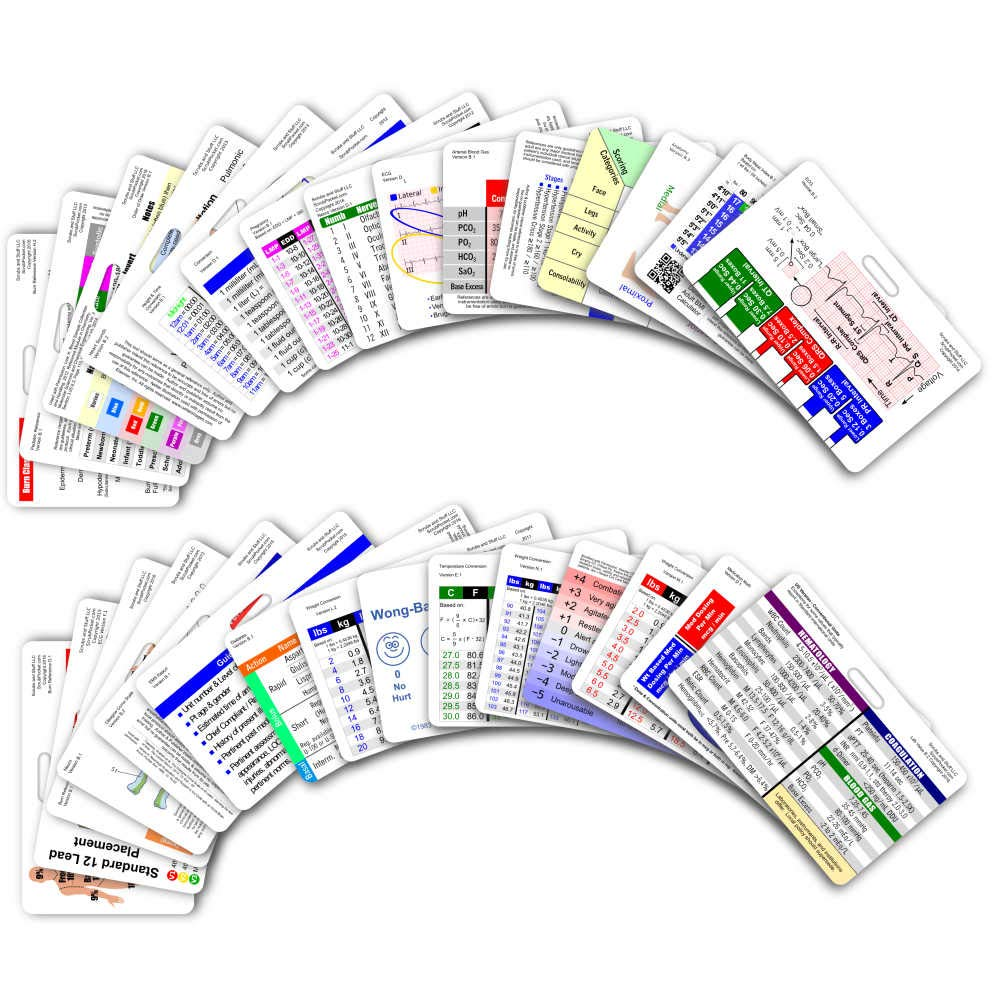 Comprehensive Horizontal Badge Card Reference Set - 30 Cards by Scrubs and Stuff LLC