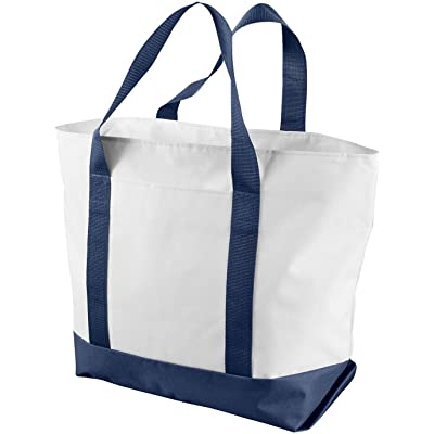 Liberty Bags Bay View Boat Tote (White_Navy) (ALL)