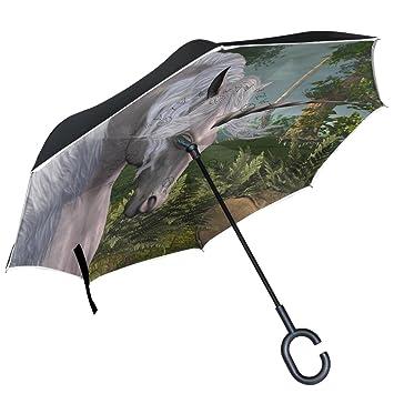 ALAZA Unicorn paraguas invertido doble capa resistente al viento Reverse paraguas