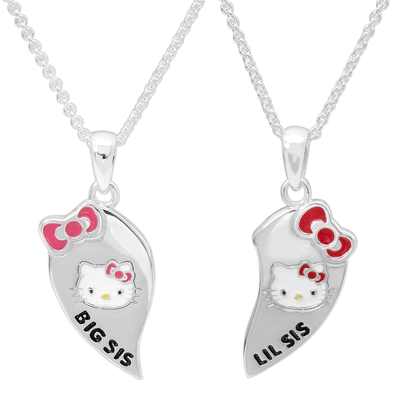 134089afa Amazon.com: Hello Kitty Girls Jewelry Silver Plated Big Sis, Lil Sis  Breakaway Pendants Set, 18