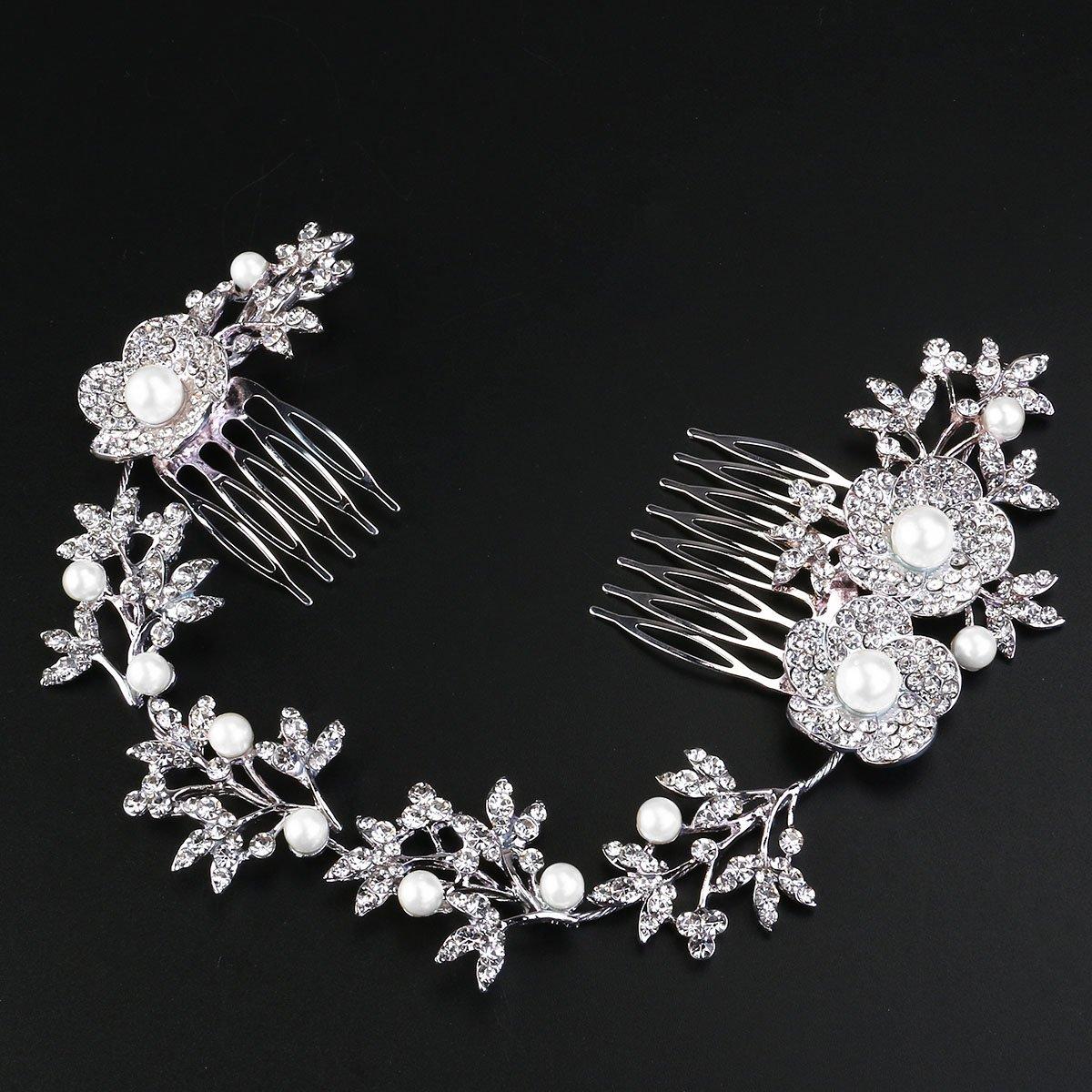Tinksky Boda nupcial pelo peine perla cristal accesorios flor hoja pelo  Clip lado peinetón 8a6b1ceb3da8