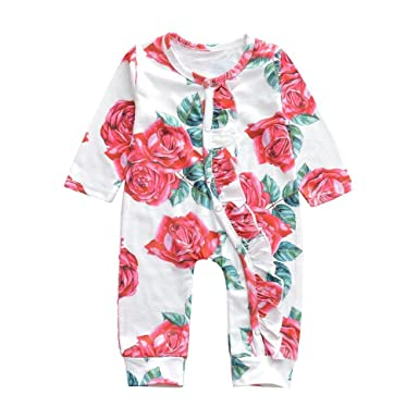 483403e364a5 Amazon.com  Lurryly Newborn Baby Romper Floral Jumpsuit Clothes Long  Bodysuit Clothing Outfit 0-2T  Clothing