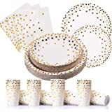 PartyFun 200PCS Gold Dot Disposable Paper Plates, Cups and Napkins, Tableware Sets include 50 Dinner Plates, 50 Dessert…