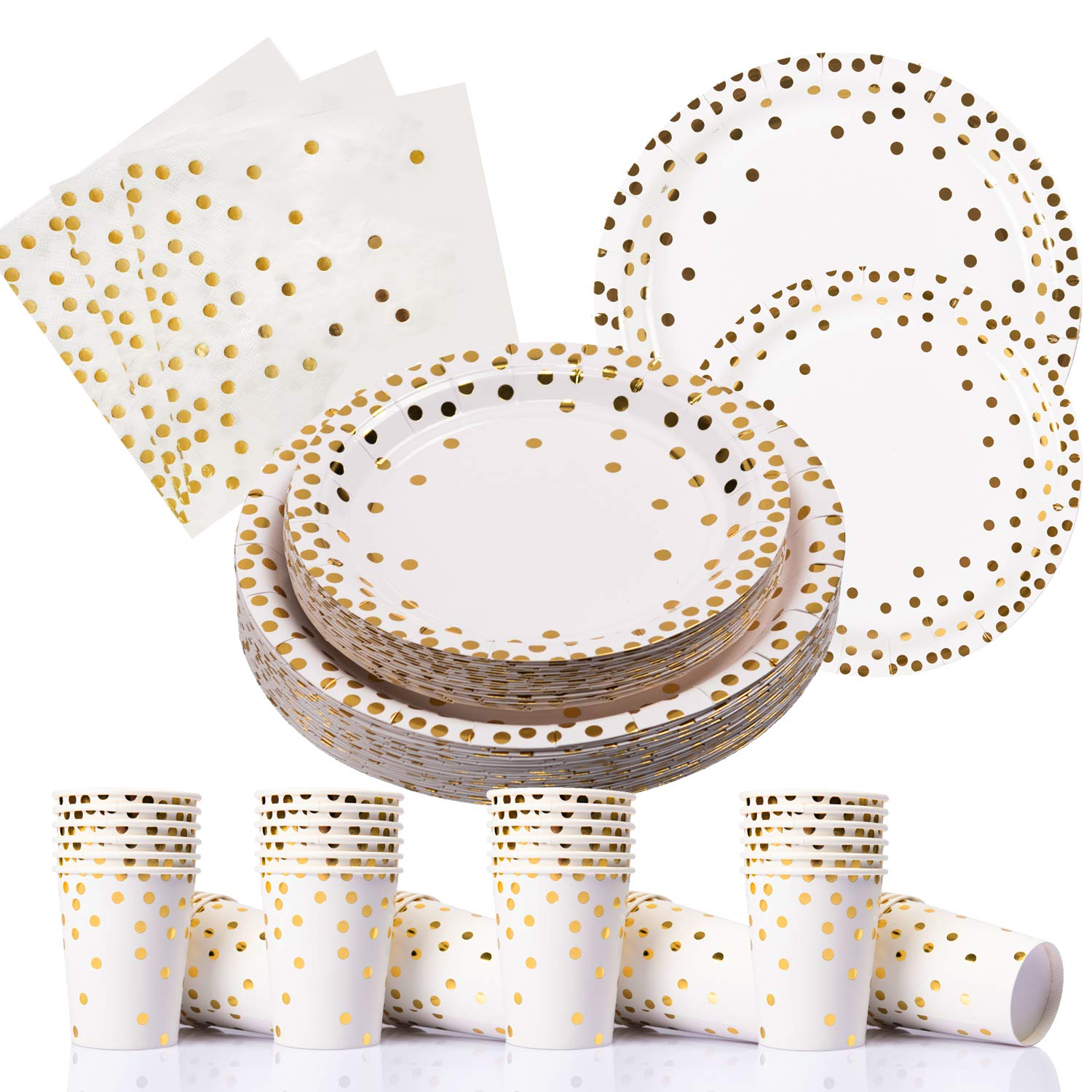 200PCS Gold Dot Disposable Paper Plates,Cups and Napkins, Tableware Sets Include 50 Dinner Plates, 50 Dessert Plates, 50 9 oz Paper Cups, 50 Luncheon Napkins, for Baby Shower Birthday Wedding Party by PartyFun
