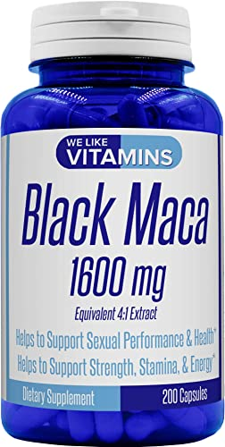 Black Maca 1600mg Equivalent 4 1 Extract 200 Capsules Black Maca Supplement Helps to Support a Strong Reproductive System