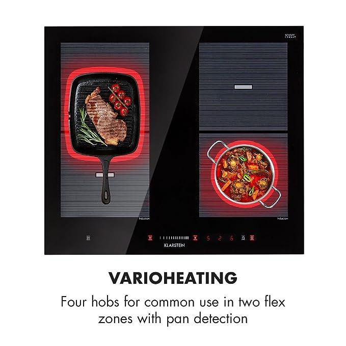 Klarstein Virtuosa Flex 60 Placa de inducción • 4 placas cocción • 7200 W • Vitrocerámica • Encastrable • ThermoBoost • Panel Digital • Sensor Temperatura ...
