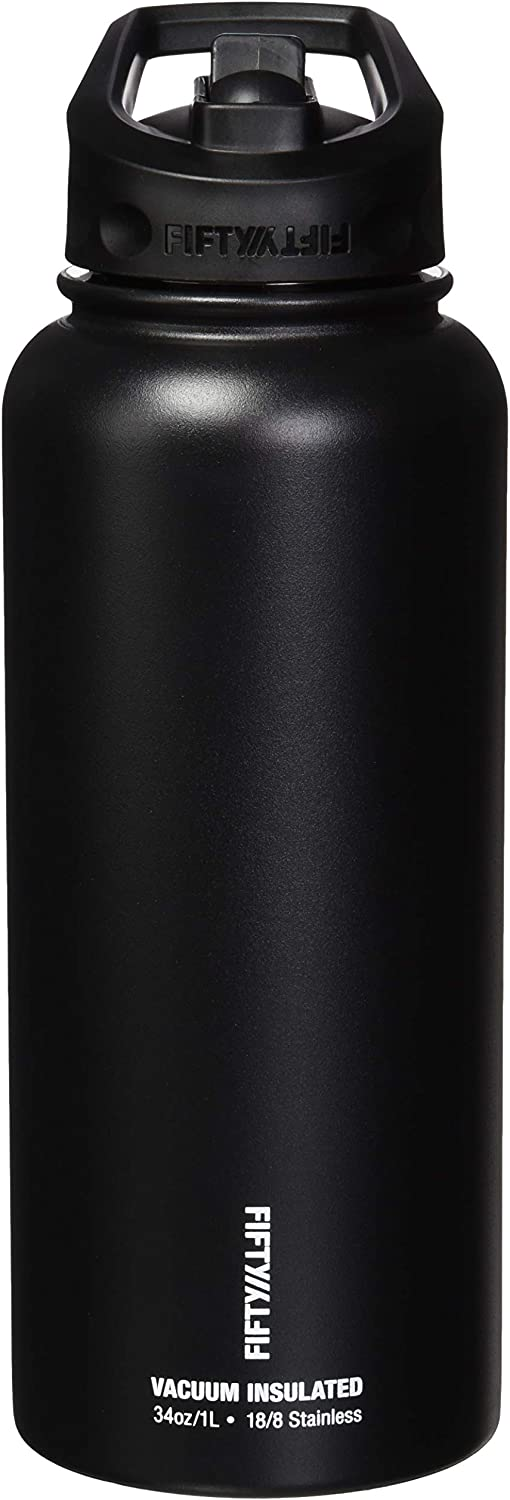 FIFTY/FIFTY Sport Water Bottle, Straw Cap with Wide Mouth, 34 oz/1 L, Matte Black
