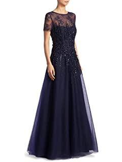 0779b10b0169 Teri Jon Embellished Applique Illusion Floor Length Tulle Evening Gown Dress  Navy