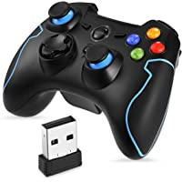 EasySMX 2.4G Wireless PS3 Controller, PC Gamepads with Vibration Fire Button range up to 10m Support PC (Windows XP/7/8/8.1/10), PS3, Android, Vista, TV Box Portable Gaming Joystick Handle