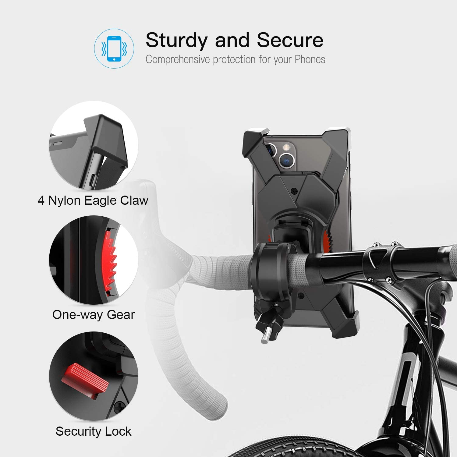 Galaxy S10 S9 S8 360/° Rotation Suit for iPhone Xs Max XR X 8 7 6 Plus ZAVAREA Universal Anti-Shake Bike Phone Mount 4-6.8 inches Android Cell Phones Note 10 9 8 GPS