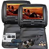 Eincar 9 pouces HD 800 * 480 Résolution Double écrans jumeaux de voitures 2 PCS Car Headrest Oreillers Région libre double système de divertissement de voiture de lecteurs DVD IR FM cuir artificiel voiture Monitor (Noir)