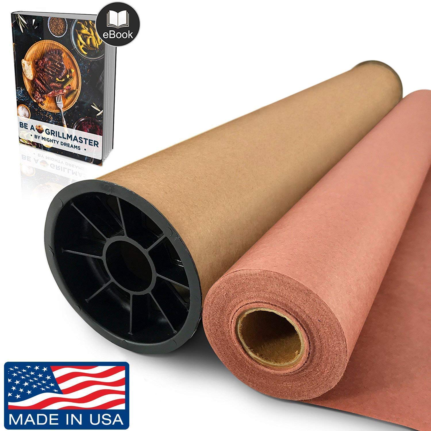Mighty Dreams Pink/Peach Butcher Paper Roll - (24'' x 150') in Durable Carry Tube & eBook | FDA Food Grade Paper, Made in USA | Unbleached Unwaxed BBQ Smoking & Meat Wrapping Paper