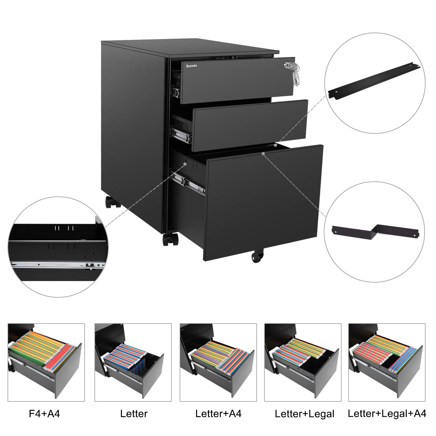 Bonnlo Mobile File Cabinet with Lock, 3 Smooth Gliding Drawers and Wheels for Home Office, Includes 25-Pack Hanging File Folders, Fully Assembled, Black by Bonnlo (Image #4)