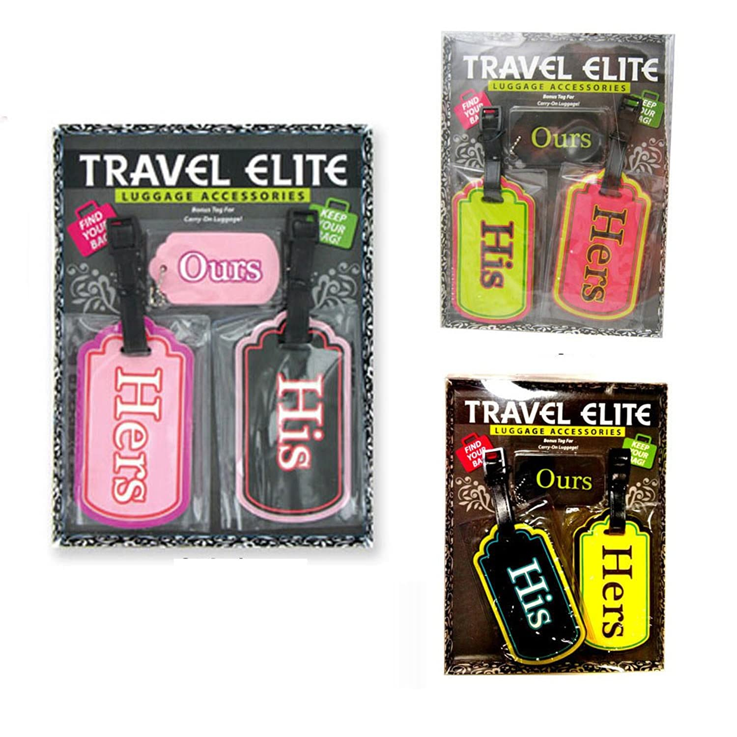 Amazon.com: 2 Travel Luggage Bag Tag His Hers Plastic Suitcase ...