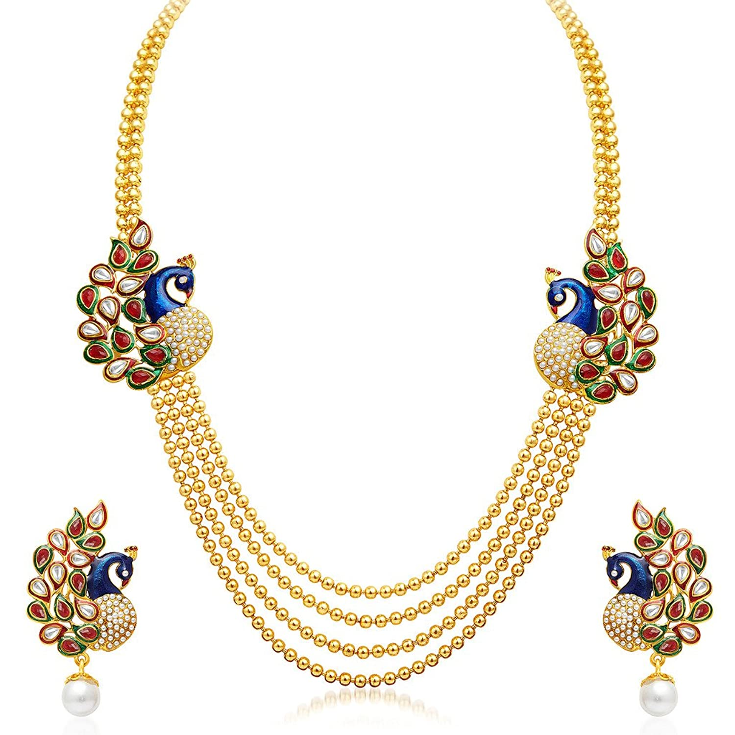 Gold necklace designs with price in rupees jewelry gallery - Sukkhi Gold Plated Multi Strand Necklace With Drop Earring For Women