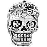 BELLA FASCINI Loving HEART Dia de los Muertos Skull Bead Fits All Compatible European Charm Bracelets