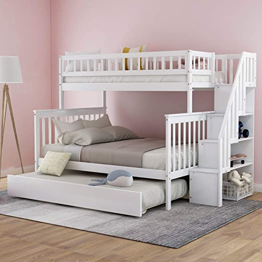 Amazon Com Twin Over Full Bunk Bed With Trundle And Staircase