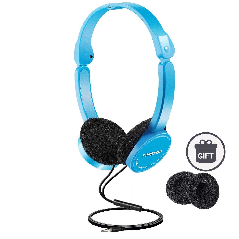 子供用ヘッドフォン オンイヤーヘッドセット 調節可能なヘッドバンド ステレオサウンド 折りたたみ式 絡まないワイヤー 3.5mm AUXジャック ブルー   B07QDXQCD3