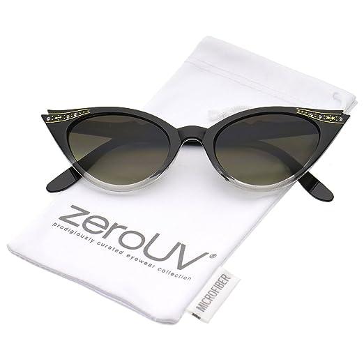 4d38ad0e90e4 Women's Retro Rhinestone Embellished Oval Lens Cat Eye Sunglasses 51mm  (Black Fade/Lavender)
