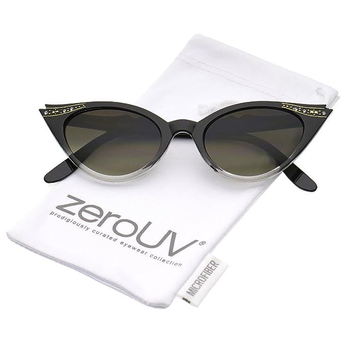 Amazon.com: zeroUV – anteojos para mujer Retro Rhinestone ...
