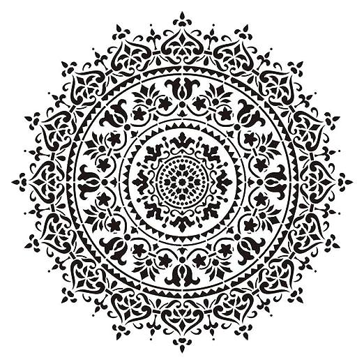 Hushen - Esténcil de 30 x 30 cm para manualidades con mandala ...
