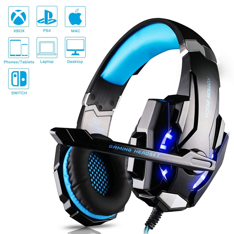 Gaming Headset Kopfhö rer mit Mikrofon USB/3.5mm On Ear Surround Sound Ohrhö rer und Lautstä rkeregelung fü r PS4 Xbox One PC Laptop Tablet Blau (G9000) GreensKon