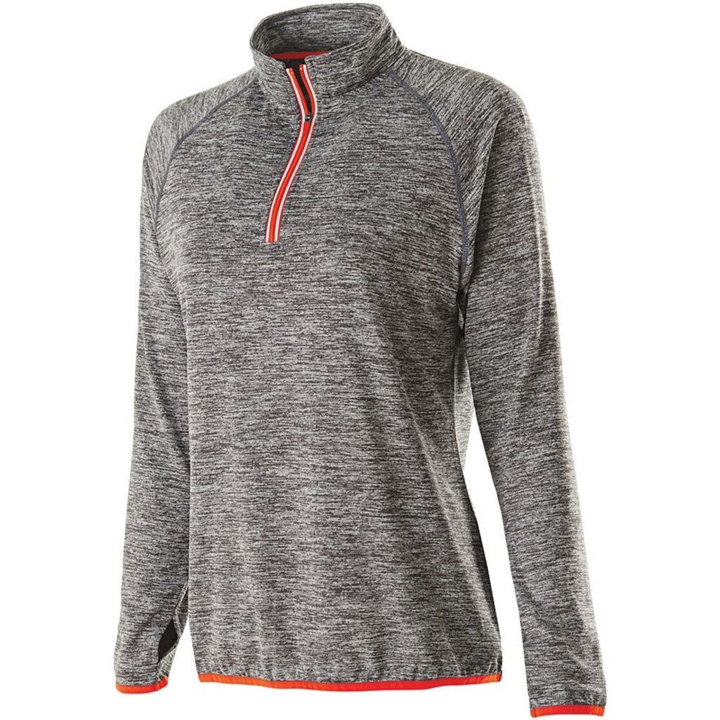 Holloway Dry Excel Ladies Force Full Zip Jacket (Medium, Carbon Heather/Orange) by Holloway