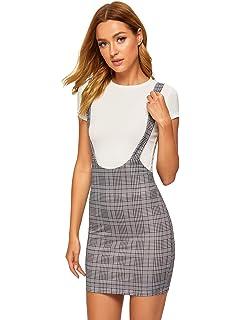 3f565e02c6 SheIn Women's Plaid High Waist Suspender Pinafore Bodycon Skirt Overall  Dress