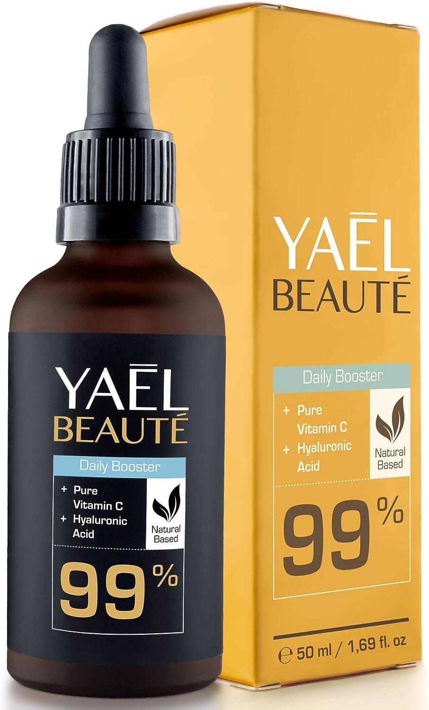 GANADOR 2020*: Sérum facial con Vitamina C y ácido hialurónico puro ● efecto antiarrugas y antiedad ● 99% natural ● vegano ● para cuello y escote ● 50ml